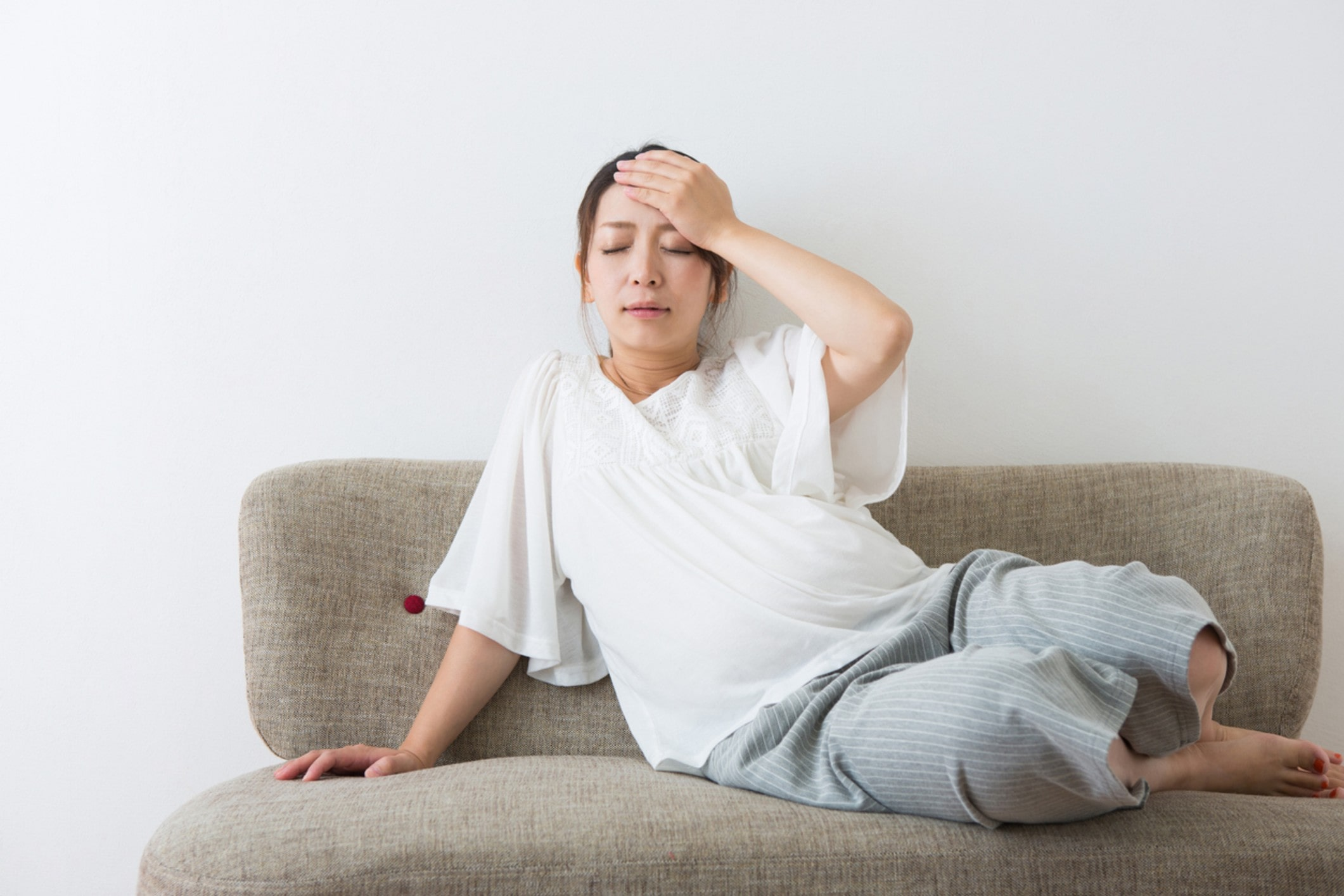 Lady experiencing morning sickness